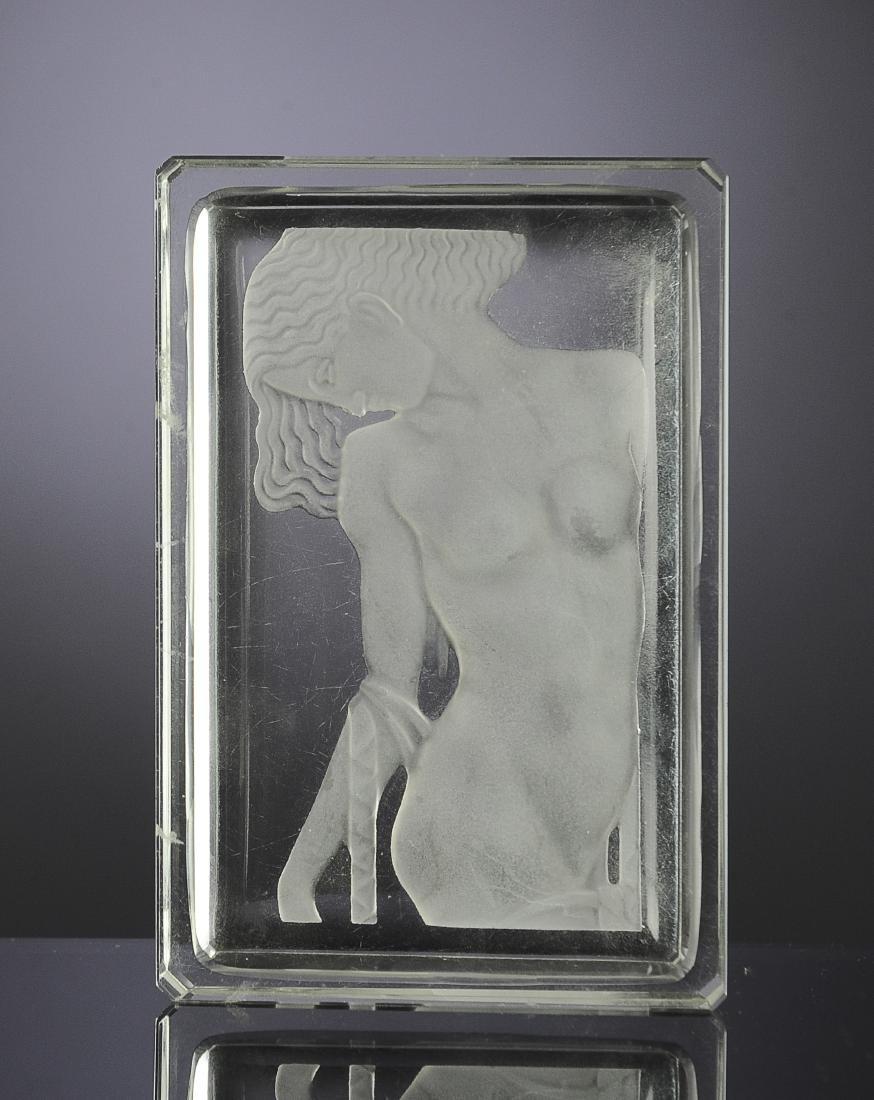 Czech Glass Intaglio Nude Dresser or Pin Tray