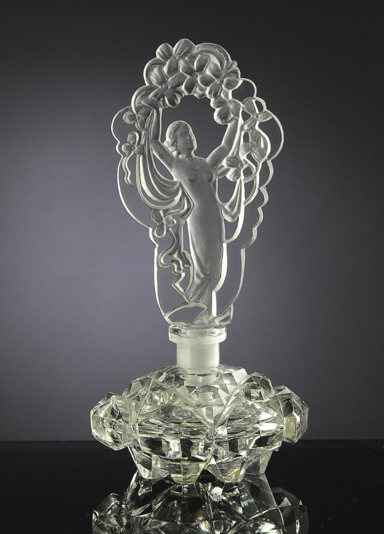 Czech Glass Irice Perfume Bottle with Nude Stopper
