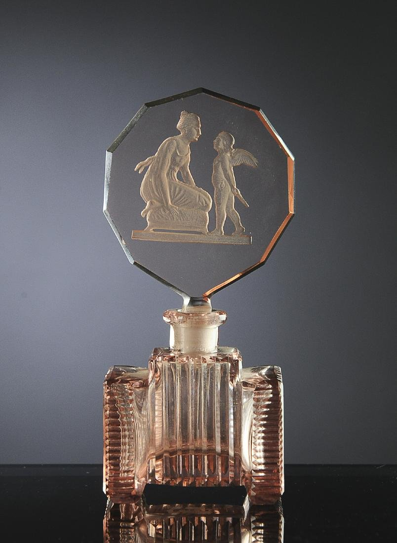 Pink Glass Czech Perfume with Intaglio Stopper