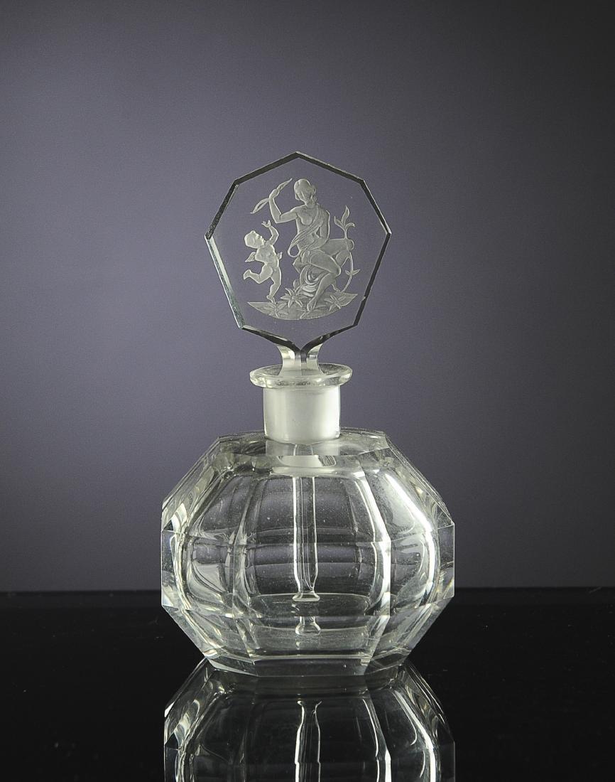 Octagonal Czech Perfume Bottle, Intaglio Stopper
