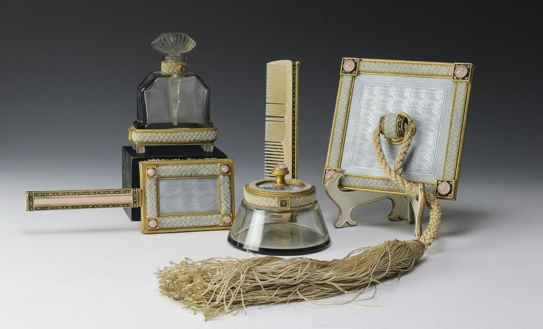 Rare Czech Glass, Enamel, & Seed Pearl Dresser Set