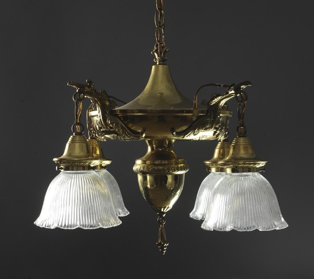 Brass Chandelier with Glass Shades