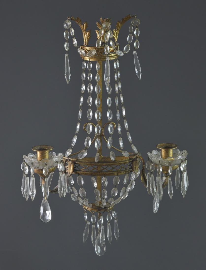 Wall Sconce Gilt Metal & Lead Crystal