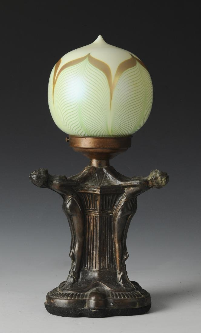 Art Deco Lamp with Pulled Feather Shade