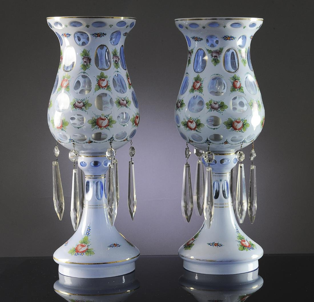 A Pair Czech or Bohemian Glass Lustre Table Lamps