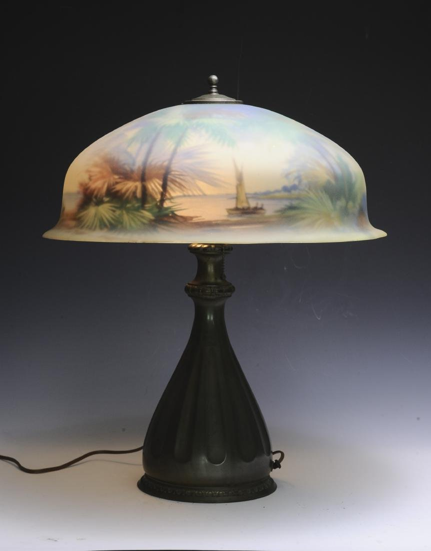 Reverse Painted Pairpoint Lamp and Palm Shade