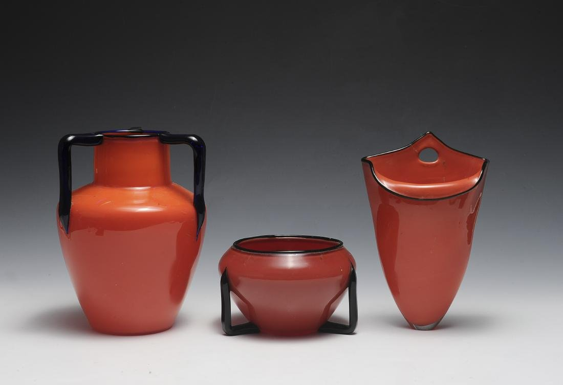 Three Red Czech Glass Vases