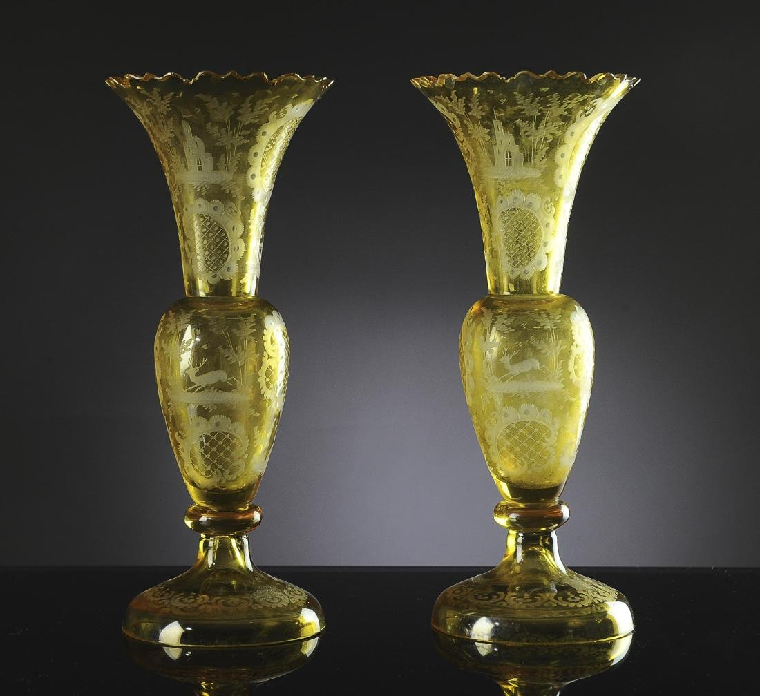 Pair of Bohemian Etched Amber Glass Vases