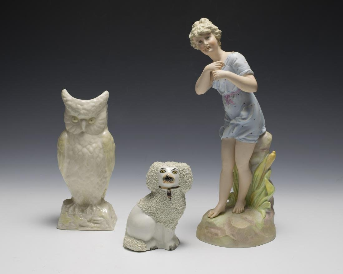 Three Porcelain Figurines Inc. Poodle, Woman, Owl