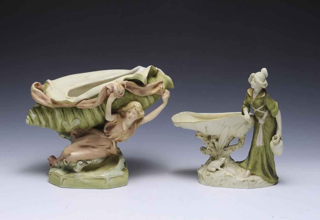 Two Royal Dux Art Nouveau Centerpieces