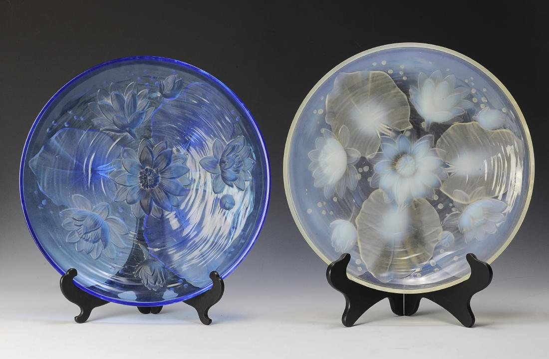 Two Large Verlys Glass Platters w/ Water Lilies
