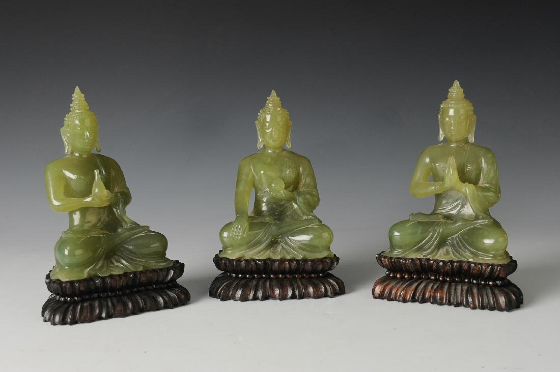 Three Carved Jade Thai Buddha