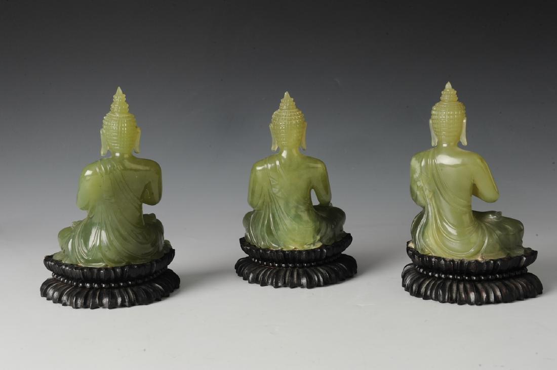 Three Carved Jade Thai Buddha - 2