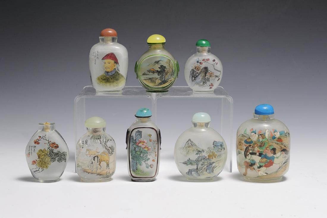 Eight Painted Glass Snuff Bottles