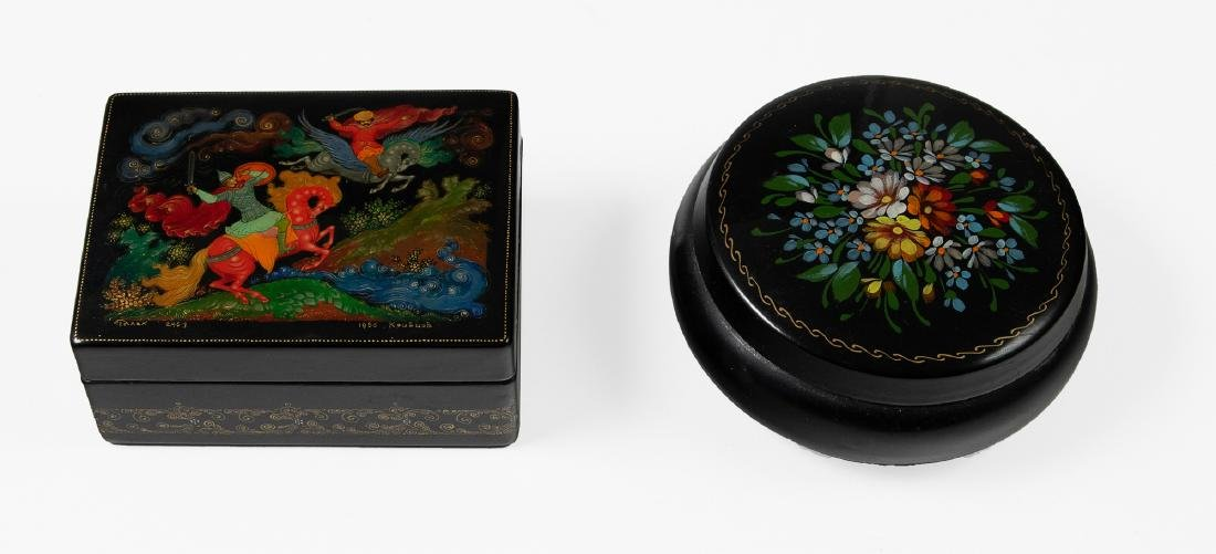 Two Small Russian Lacquer Boxes