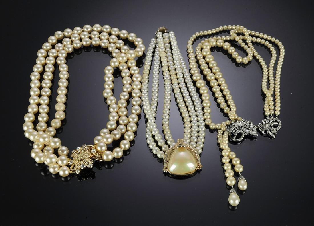 Three Triple Row Rhinestone & Pearl Necklaces