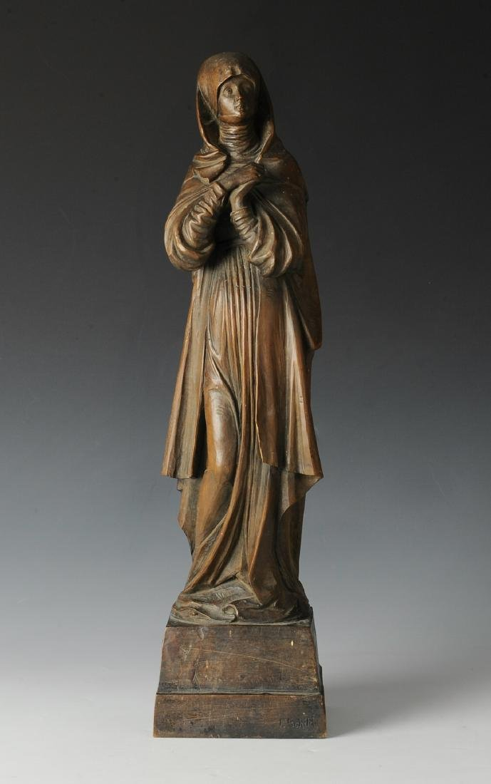 Signed Carved Wood Nun Circa 1900