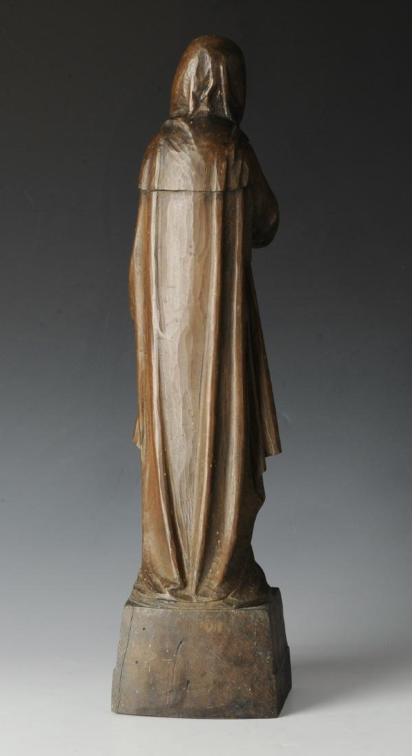 Signed Carved Wood Nun Circa 1900 - 2