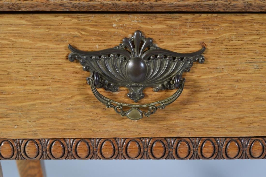 Antique Oak Ladies Writing Table - 3
