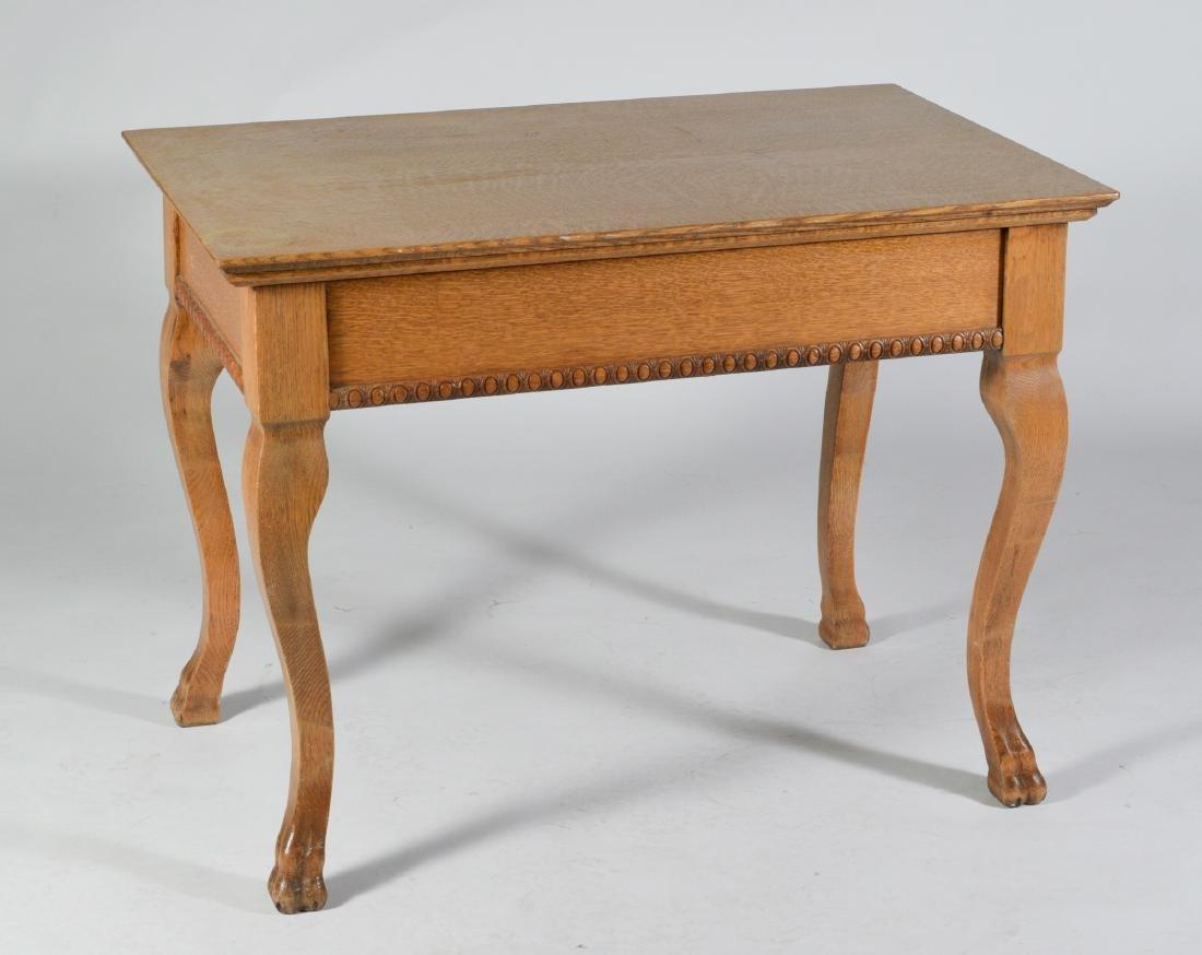 Antique Oak Ladies Writing Table - 5