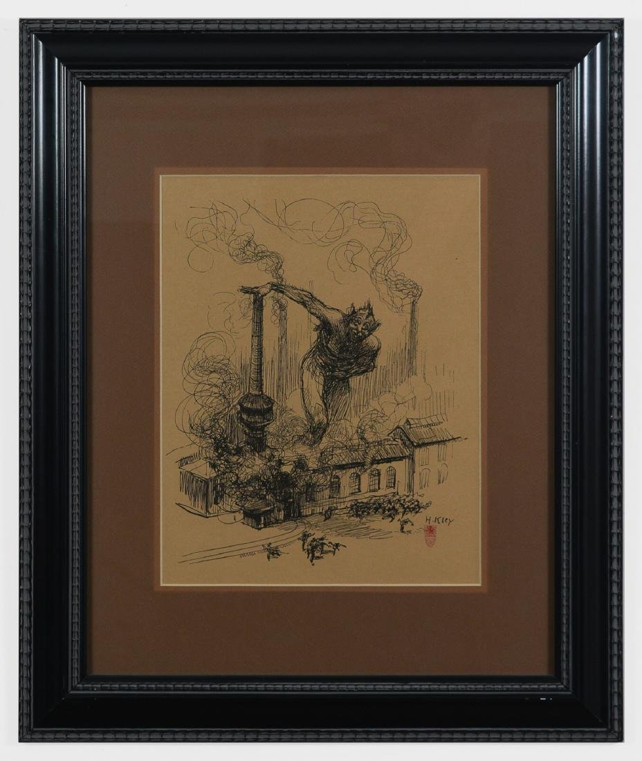 Lithograph of a Demon and Industry by H. Kley