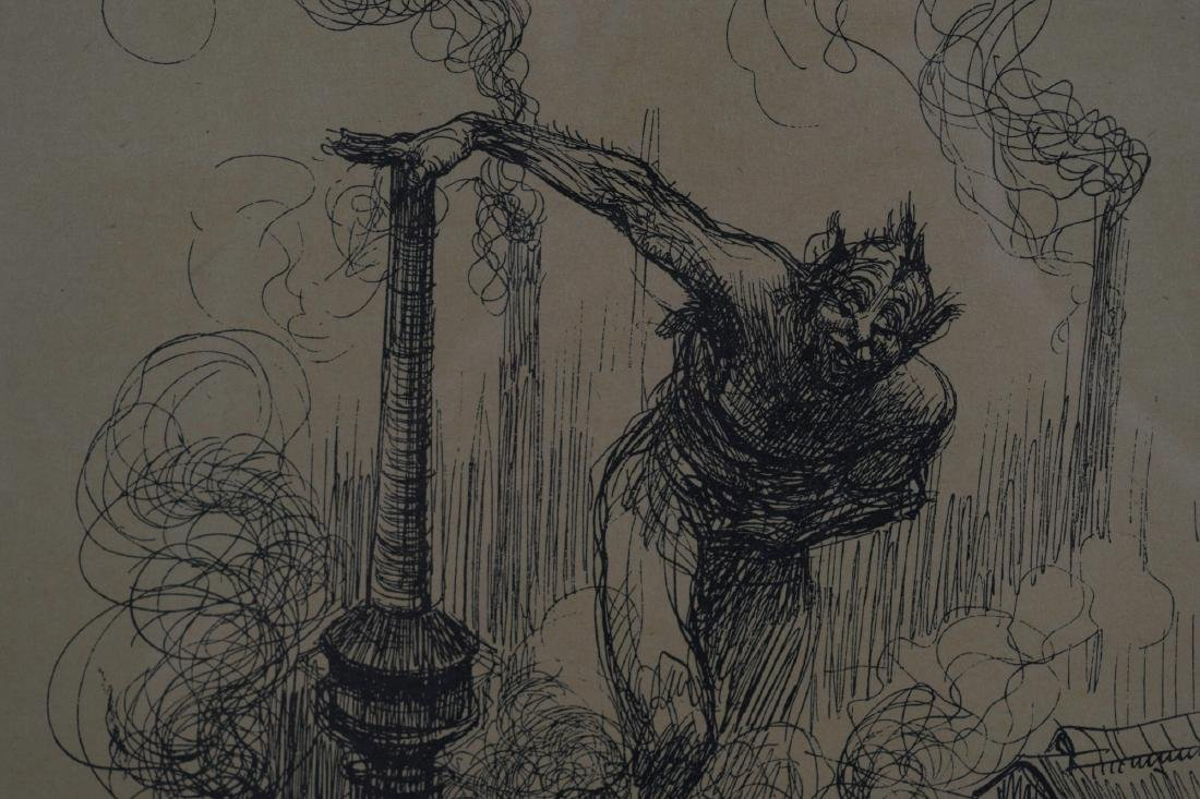 Lithograph of a Demon and Industry by H. Kley - 3