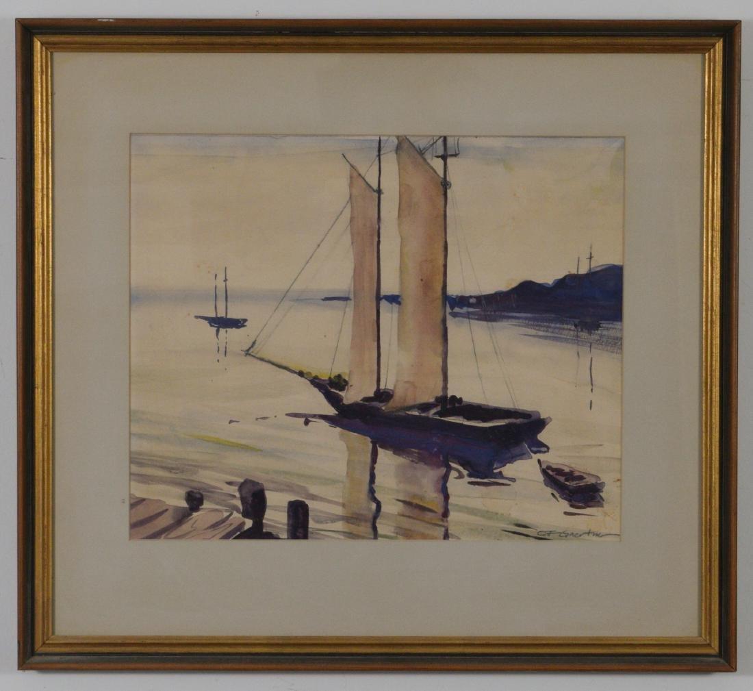 Watercolor Signed Carl F Gaertner