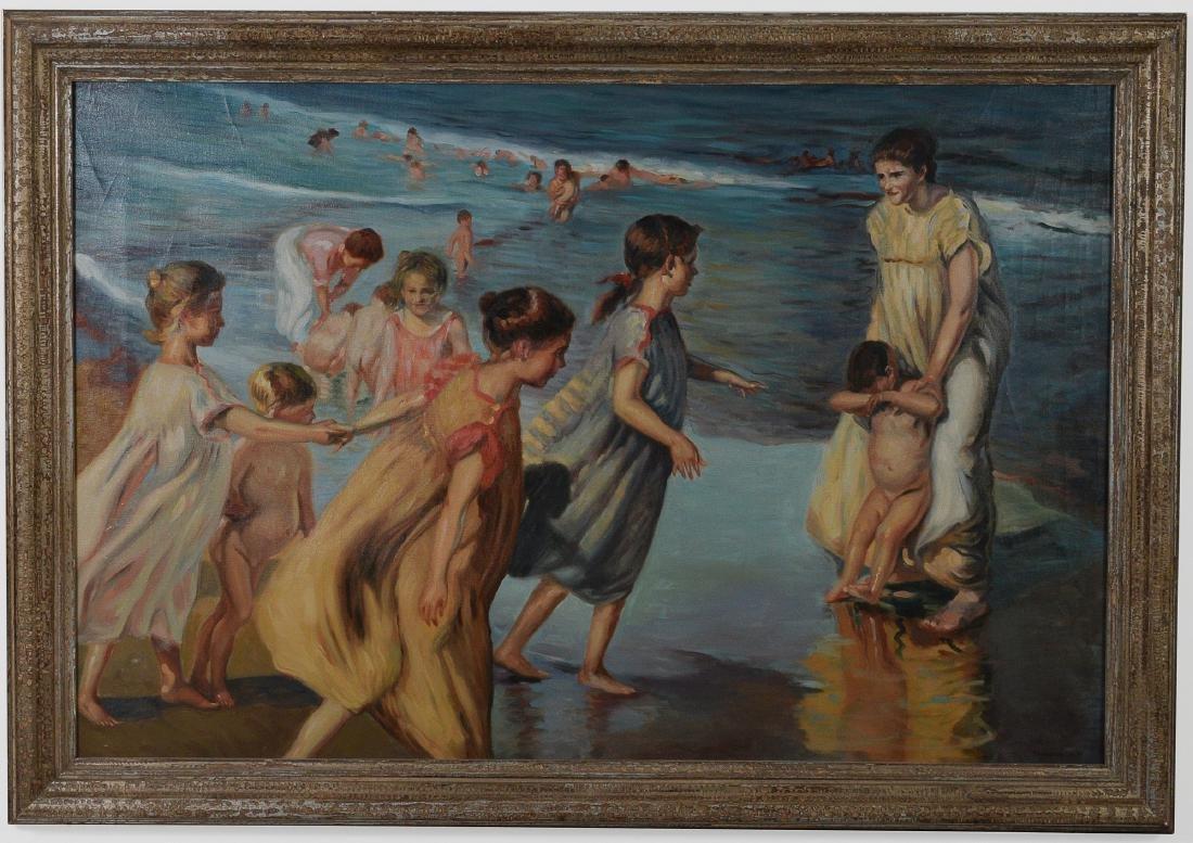 Oil on Canvas, Beach Scene