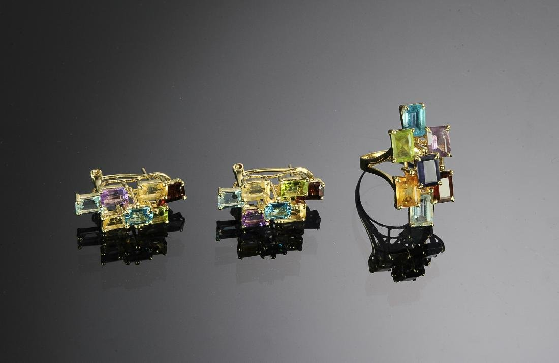 14K Gold Cocktail Ring & Earrings with Gemstones