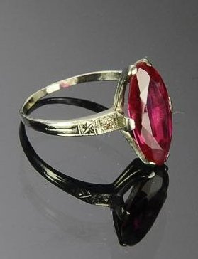 14K White Gold and Marquis Cut Pink Tourmaline