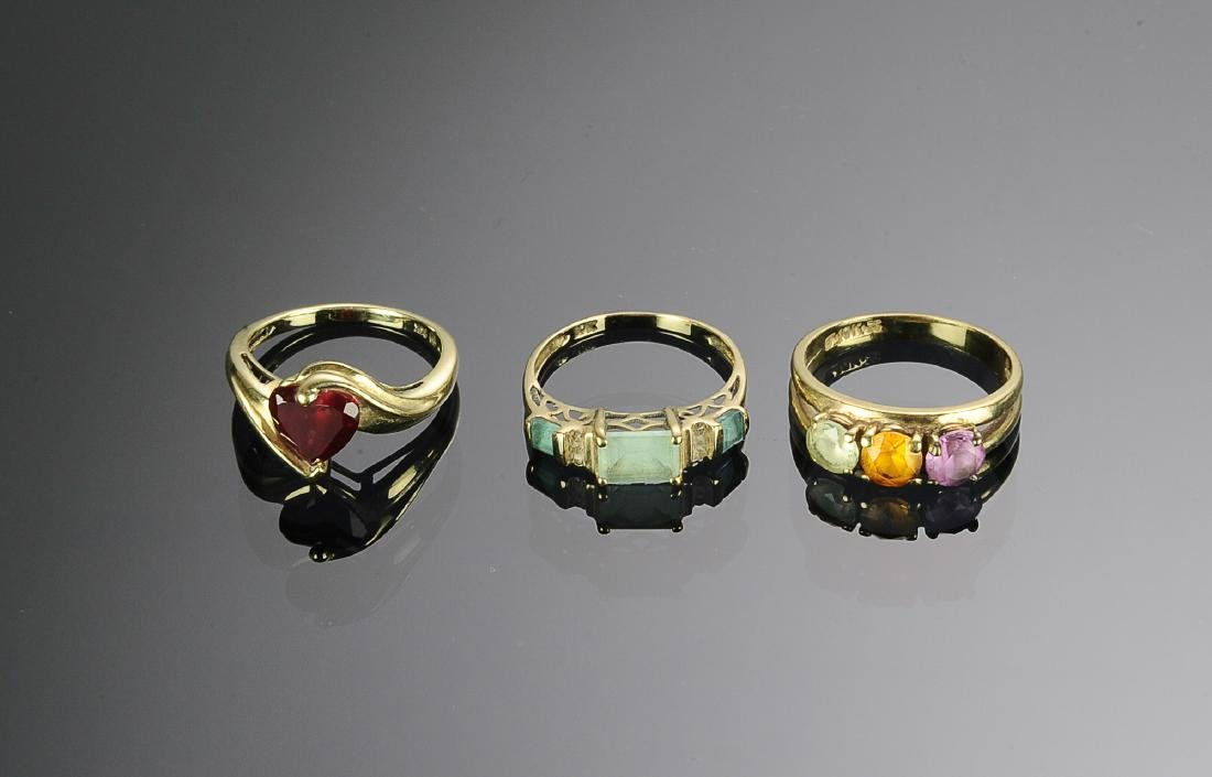 A 14K & Two 10 K Gold Rings with Gems