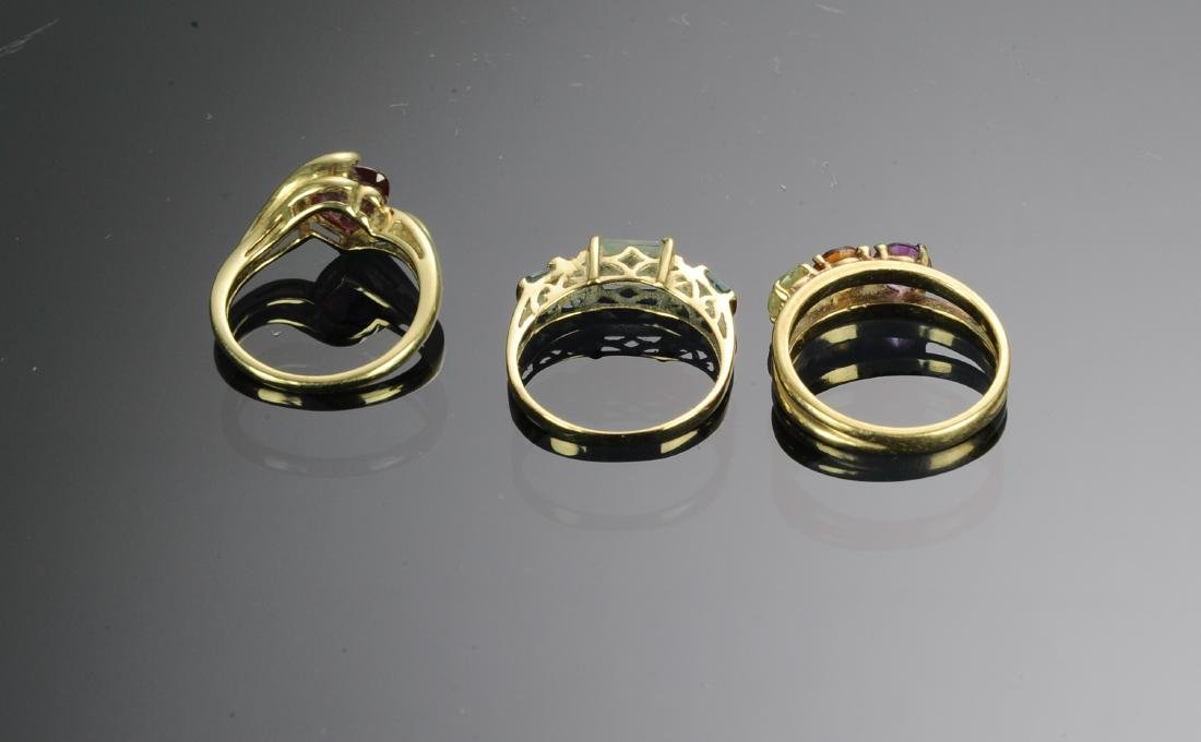 A 14K & Two 10 K Gold Rings with Gems - 2