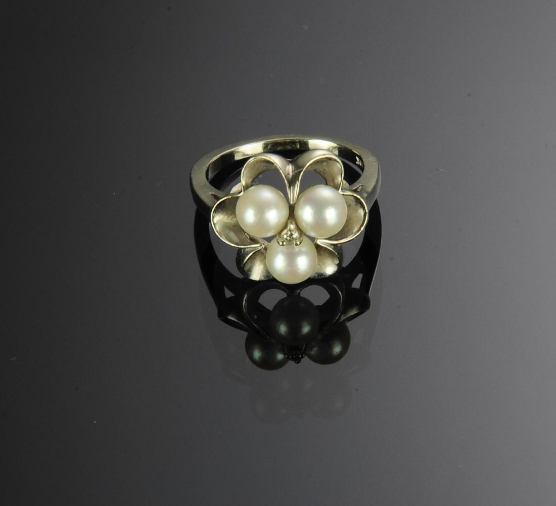 14K Gold Pearl & Diamond Ring - 2