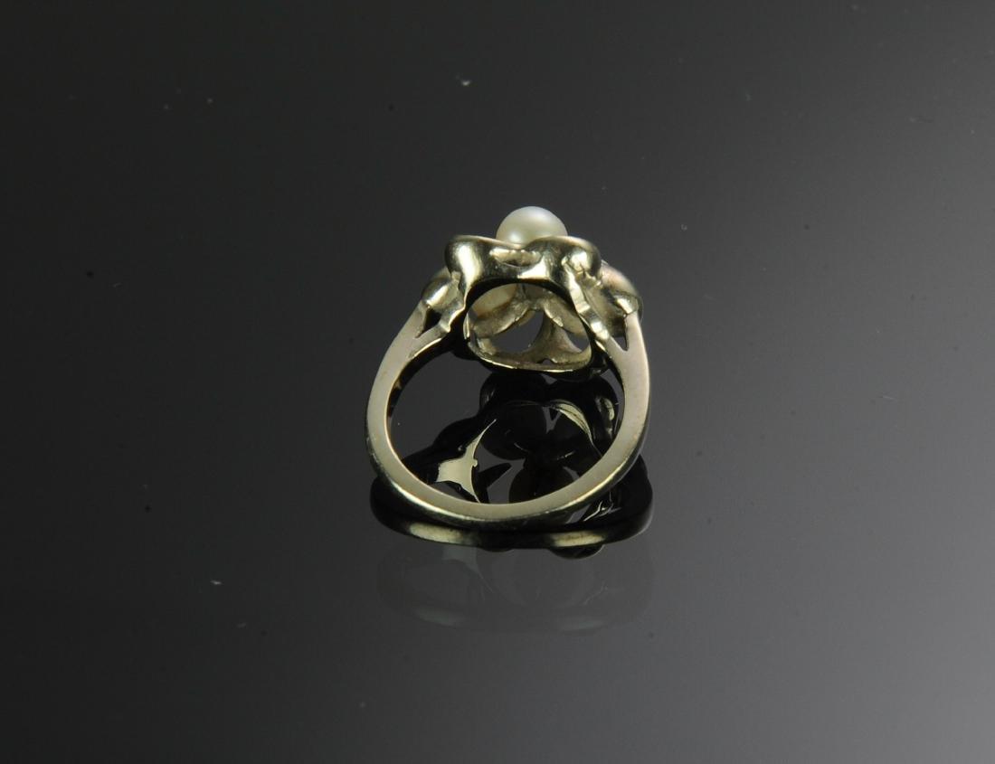 14K Gold Pearl & Diamond Ring - 3