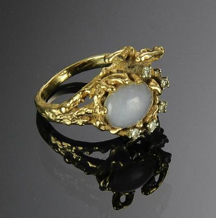 A 14K Gold, Jade and Diamond Ring