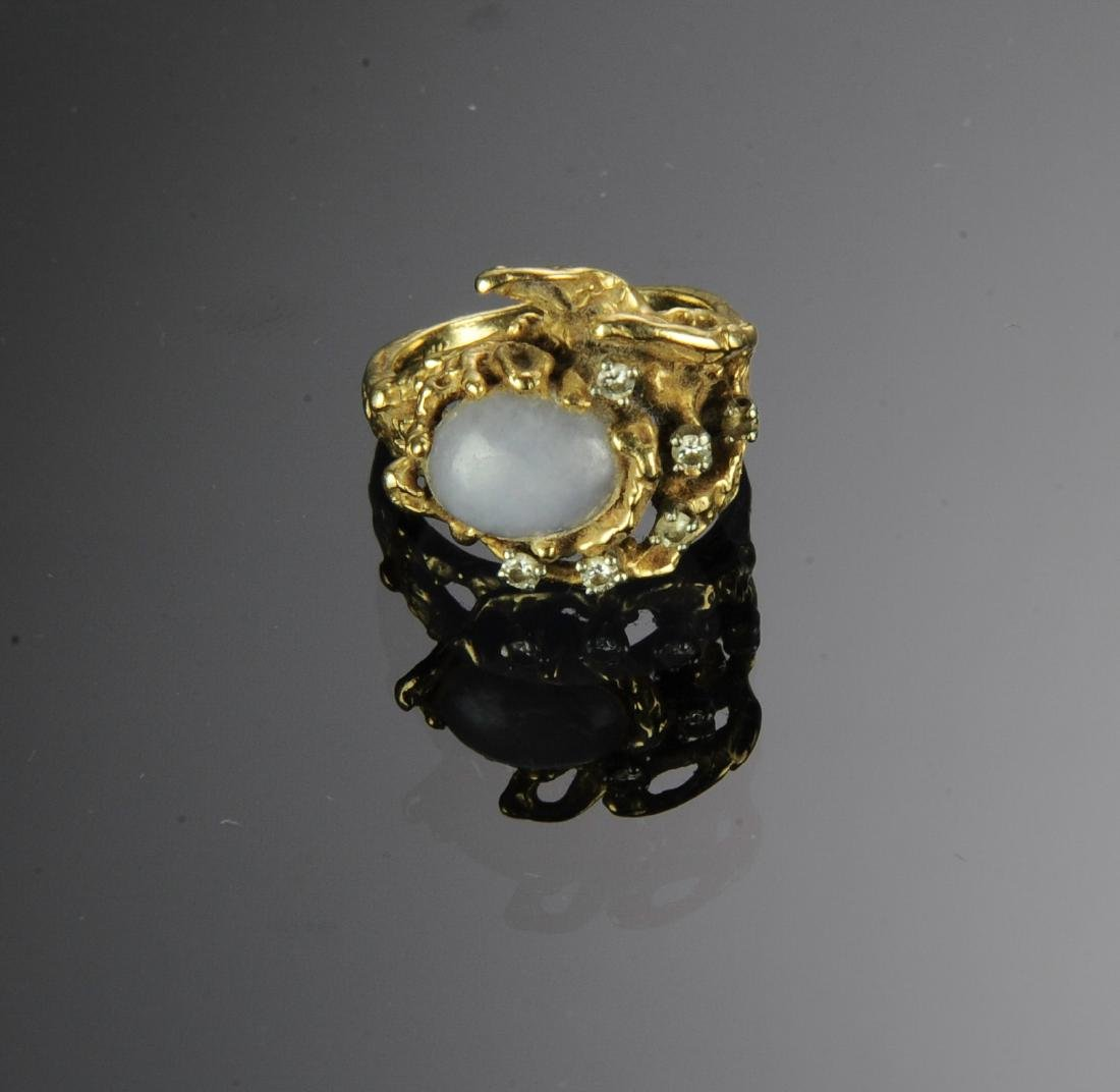 A 14K Gold, Jade and Diamond Ring - 2