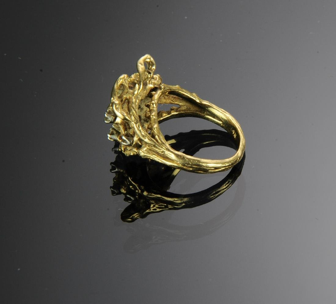A 14K Gold, Jade and Diamond Ring - 3