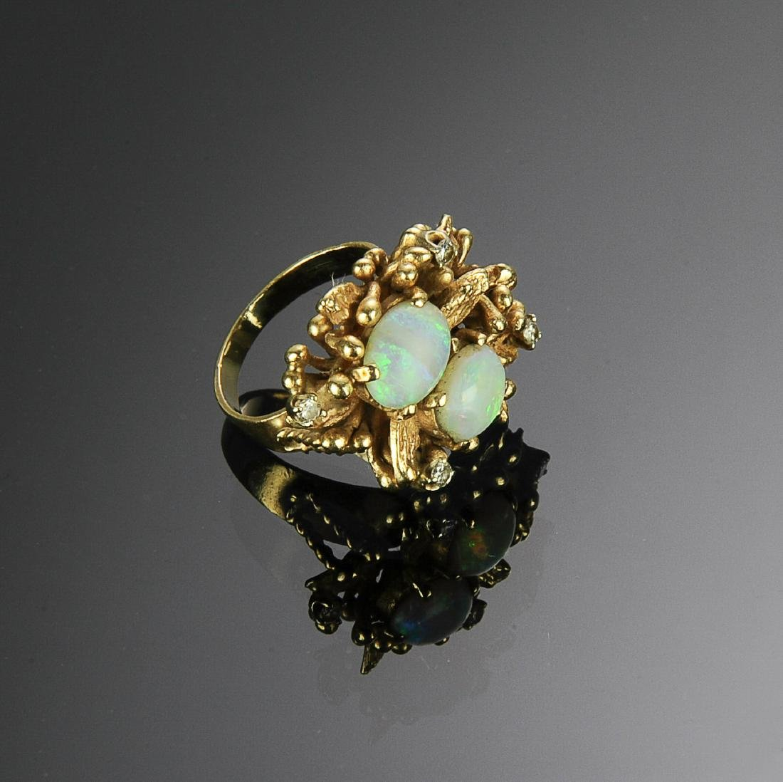 14K Gold, Diamond and Opal Ring