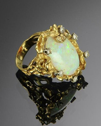 A 14K Gold, Opal and Diamond Ring