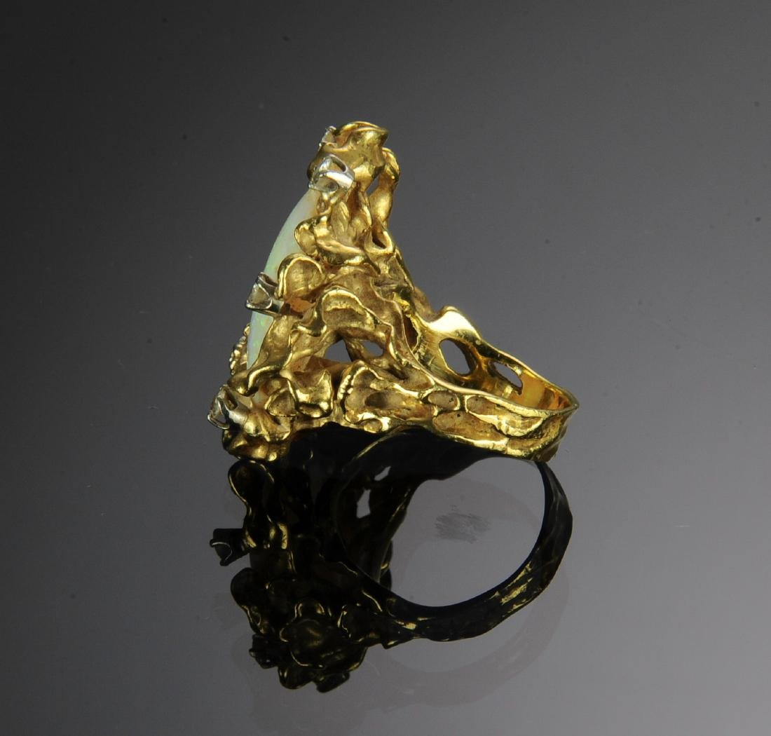 A 14K Gold, Opal and Diamond Ring - 3