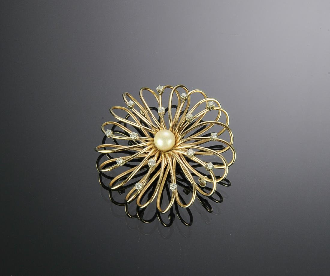 14K Gold and Diamond Brooch with Pearl