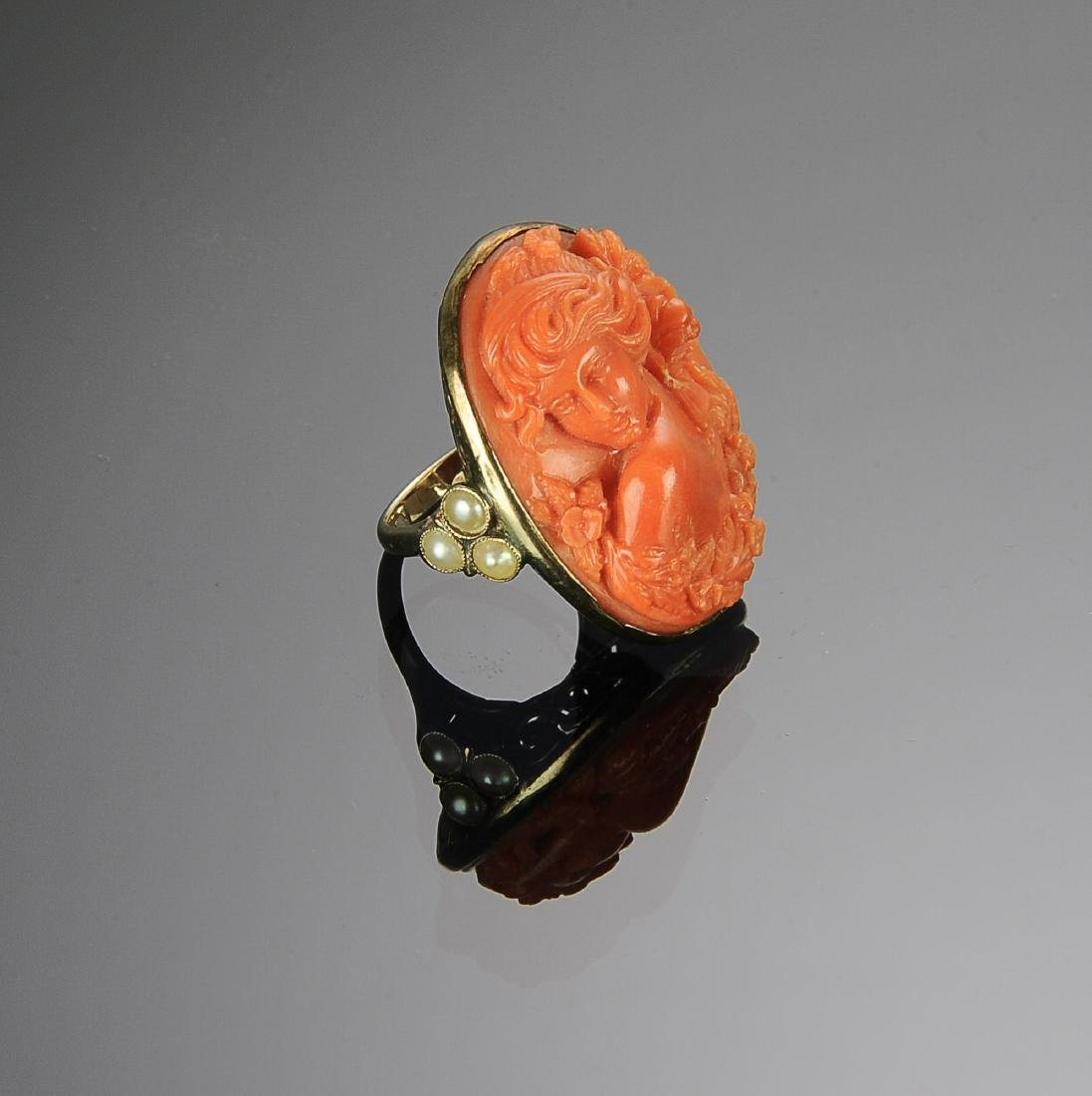 An Antique 14K Gold & Coral Cameo Ring