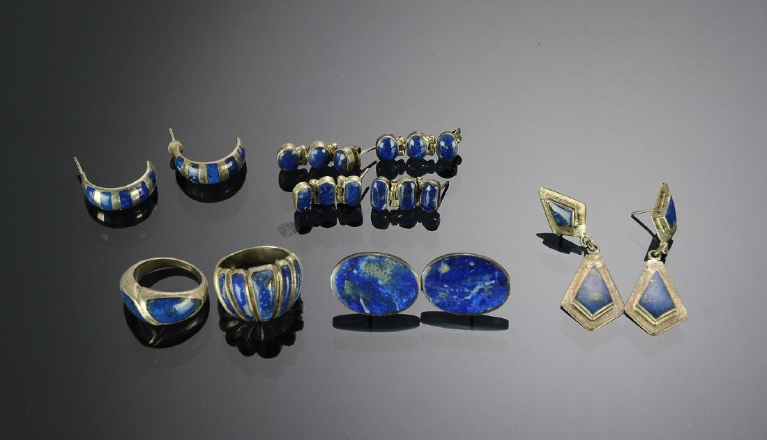 Lot of Sterling Silver & Lapis Lazuli Jewelry (12)