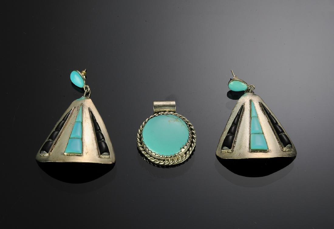 Mexican Sterling - Turquoise Pendant and Earrings