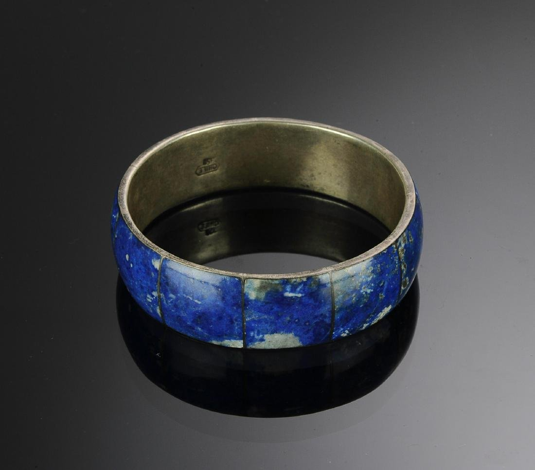 Sterling Silver and Lapis Lazuli Bangle Bracelet