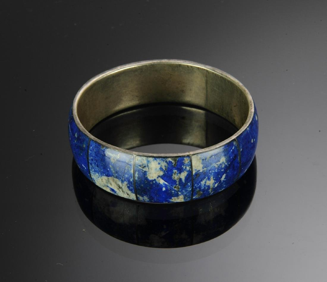 Sterling Silver and Lapis Lazuli Bangle Bracelet - 2