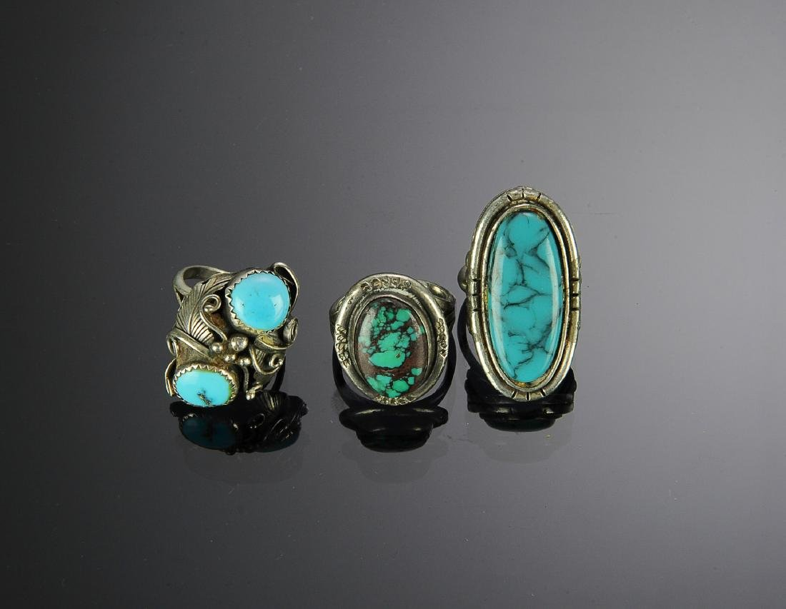 Three Sterling Silver and Turquoise Rings