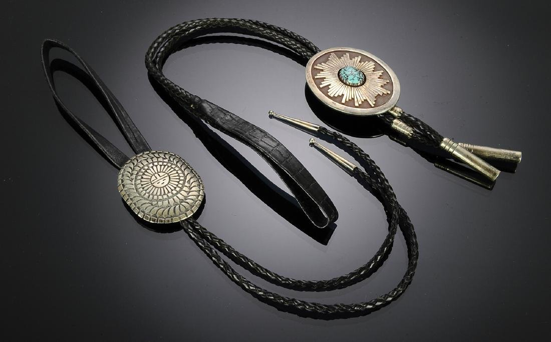 Two Navajo Sterling Bolo Ties