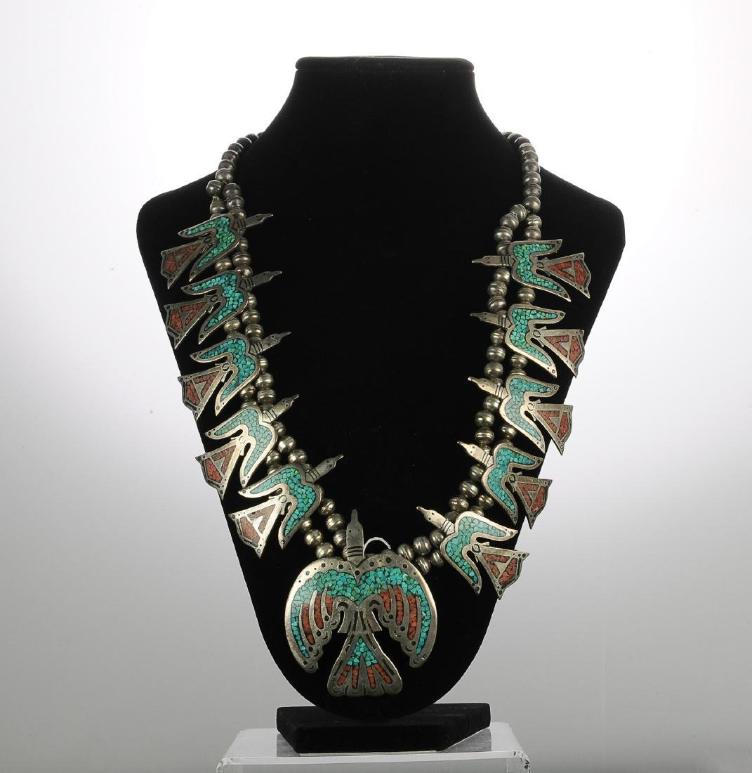 Zuni Thunderbird Squash Blossom Necklace
