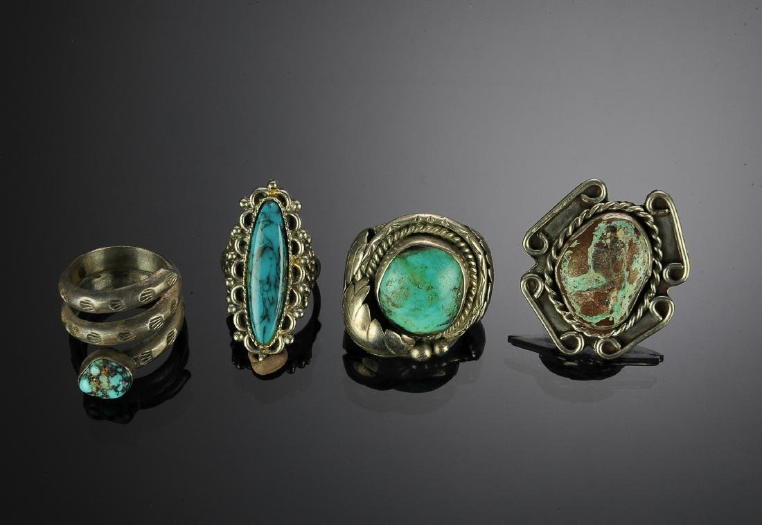 Four Silver & Turquoise Native American Rings